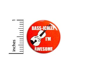bass guitar, music gift, and funny jacket pin image