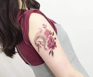 arm, roses, and asian image