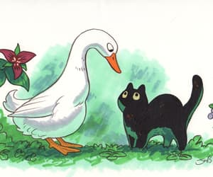 art, cats, and goose image