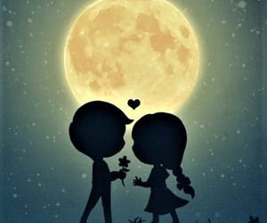 full moon flower and shadow silhouette lovers image
