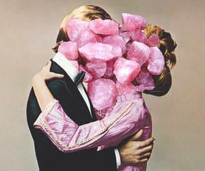 art, pink, and kiss image
