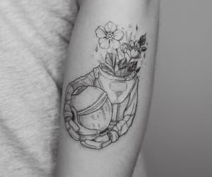 astronaut, flowers, and ink image
