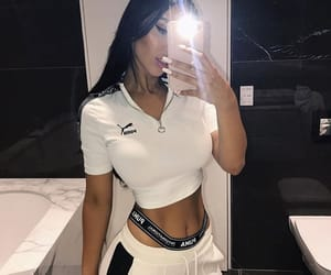 bathroom, outfit, and selfie image
