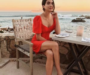 chic, red dress, and sandals image