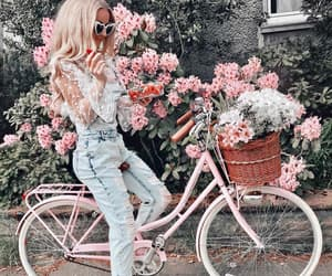 flowers, girls, and bike image