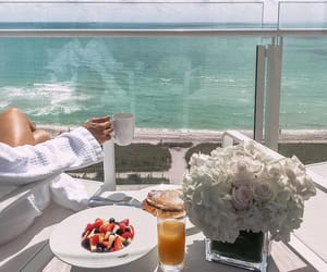 beach, breakfast, and drink image