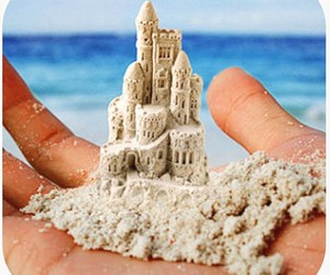 beach, hand, and castle image