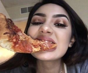 girl, makeup, and pizza image