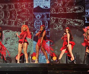 Camila Cabello DinahJane Hansen Normani Hamilton Lauren Jauregui and Ally Brooke of Fifth Harmony perform at the 997 NOW Triple Ho show at SAP Center...