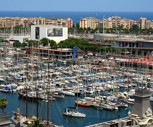 Barcelona, boats, and harbour image