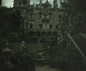 castle, black and white, and dark image