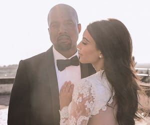 kanye west, couple, and kim kardashian image