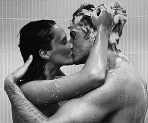 black and white, soap, and couple image