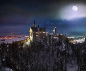 castle, full moon, and mountain image