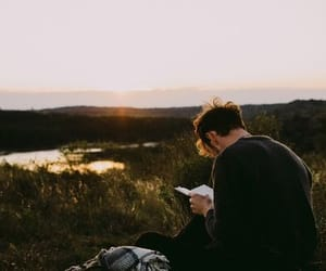 boy, book, and nature image