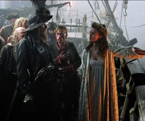 geoffrey rush, keira knightley, and pirate image