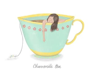 chamomile, girl, and tea cup image