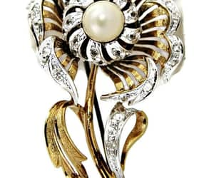 brooch, pearl, and signed jewelry image
