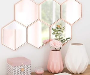 mirror, pink, and decor image