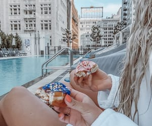 city, girls, and donuts image