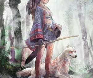 anime, wolf, and anime girl image