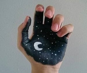 moon, hand, and art image