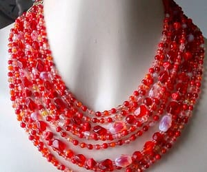 etsy, vintage necklace, and red glass necklace image