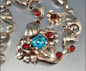 blue glass, red glass, and art deco necklace image