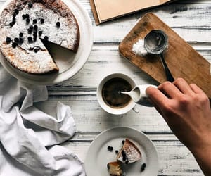 cake, notebook, and tea image