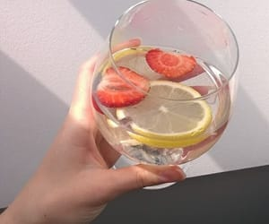 lemon, strawberry, and water image