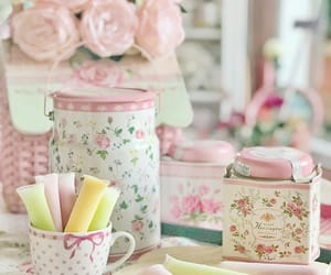 floral, jars, and pastel image
