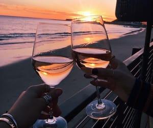 wine, beach, and sunset image