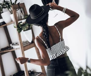 braid, brunette, and outfit image