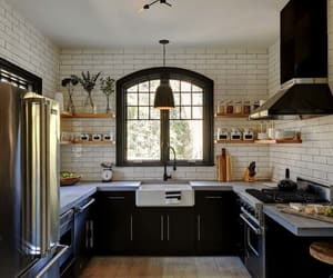 farmhouse, kitchen design, and kitchen image