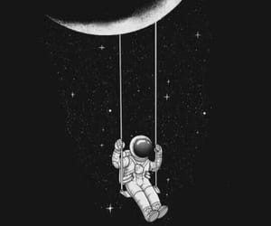 moon, wallpaper, and astronaut image