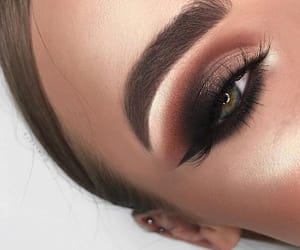 brown, eyeshadow, and golden image