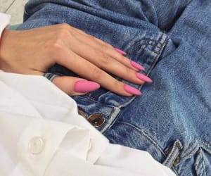 nails, jeans, and pink image