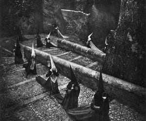 witch, black and white, and creepy image