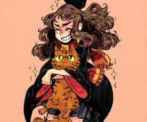 harry potter, hermione granger, and crookshanks image