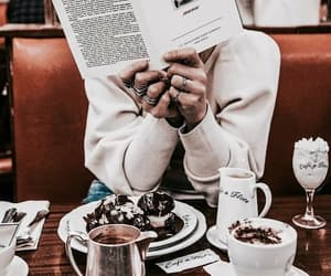 girl, book, and coffee image