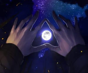 night, art, and hands image