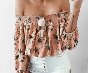 blouse, floral, and shorts image