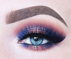 blue eyes, lashes, and blue shadow image