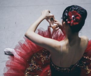ballerina, pointe shoes, and red image