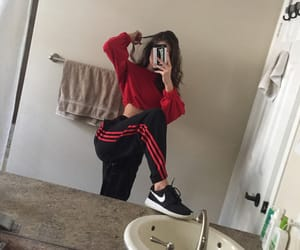 red, girl, and adidas image