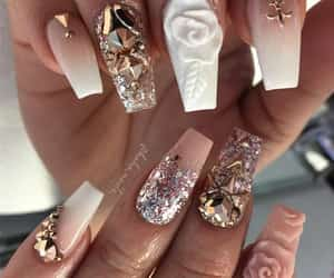 nails, beauty, and rose image