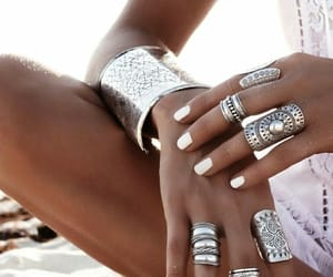 beach, manicure, and rings image