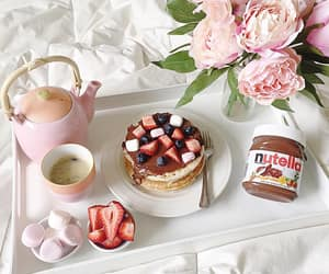 breakfast, nutella, and pink image
