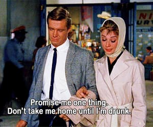 audrey hepburn, Breakfast at Tiffany's, and drunk image
