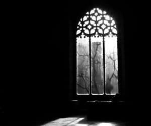 window, black and white, and dark image